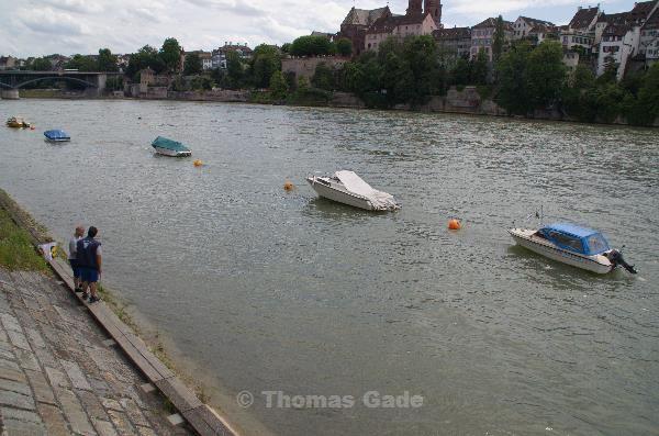 Motorboote auf dem Rhein.