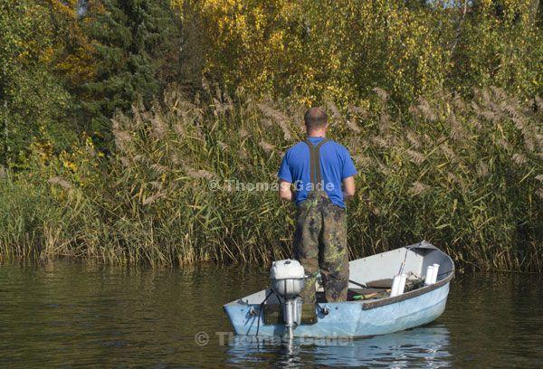 Angler im Boot nahe am Ufer