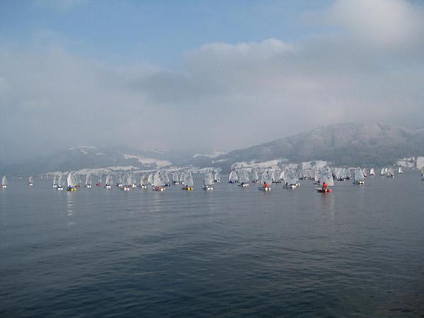 Eine Flotte Optmisten auf kaltem Wasser